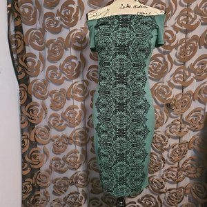 Women's Green & Black Bodycon Dress